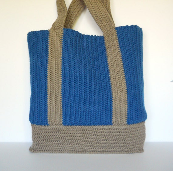 Lining Crochet Bag : Blue and Tan Partially Lined Crochet Tote Bag, Market Bag, Gift for ...