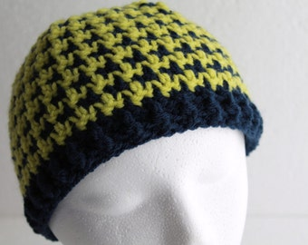 Chevron Houndstooth Hat Crochet Navy and Chartreuse Cap One Size Fits Most Skullcap Ready To Ship