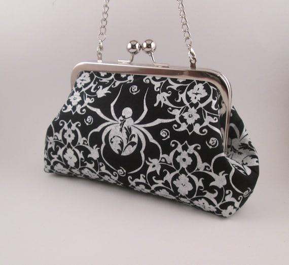 Witch S Spider Clutch Halloween Handbag Goth Kiss Lock