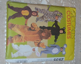 McCalls 2935 Toddlers Animal Costumes Sewing Pattern - UNCUT - All Sizes (1/2 - 4)