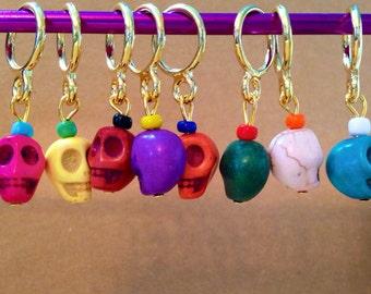 Rainbow Skull Stitch Markers (Set of 8)