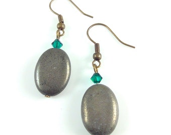 Pyrite Earrings, Oval Pyrite Beads with Emerald Green Swarovski Crystals, Semi Precious Stone Earrings