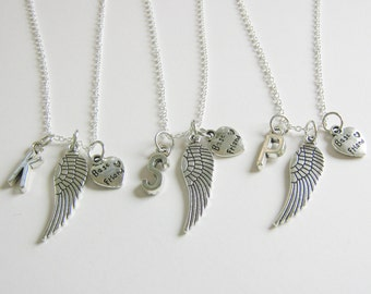 3 Best Friends Angel Wings Initial Necklaces BFF