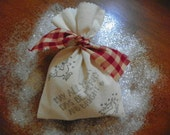Set of 5 bags with ties / cotton muslin bag 5.75 x 8 inch  Christmas gift bag