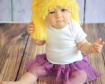 Newborn Photo Prop, Cabbage Patch Doll Hat, Cabbage Patch Hat, Cabbage Patch Wig, Blonde Cabbage Patch Hat Wig, Toddler Hat, Girl Hat