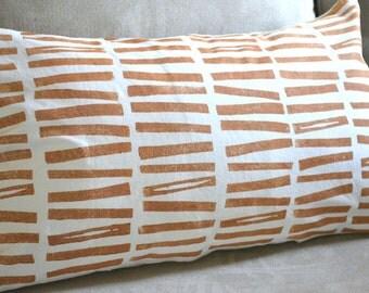 Hand printed pillow cover, modern block print