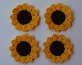 Set of 4 Sunflower Feltie Felt Embellishments