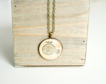 """Penny Farthing Necklace, Vintage Style Bicycle Necklace, Antique Gold Pendant, 18"""" chain"""