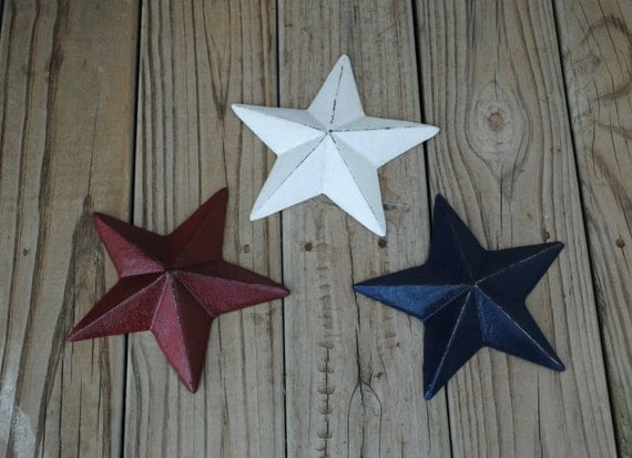 Red Metal Wall Decor: Red White Navy Metal Wall Art Wall Decor Star By FromShab2Chic