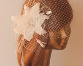 Unique Ivory BIRDCAGE VEIL with Amazing Flower, ostrich feathers and Rhinestone Brooch. Bridal FASCINATOR