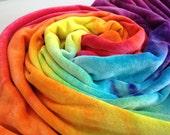 CUSTOM Rainbow Baby blanket : hand dyed organic bamboo velour x 2