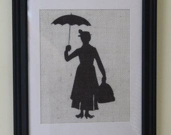 Mary Poppins Silhouette Burlap Wall Print