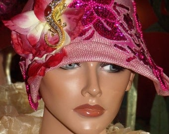 Pink Flapper Hat Cloche 1920 style  Beaded  Personalized Headdress   Millinery ArtWork