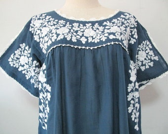 Mexican Embroidered Dress Cotton Tunic In Blue, Boho Dress, Hippie Dress Bohemian Style