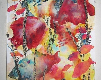 Coral Garden - dyed tissue paper collage