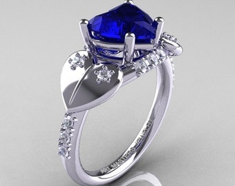 Classic Hearts 14K White Gold 2.0 Ct Blue Sapphire Diamond Engagement Ring Y445-14KWGDBS