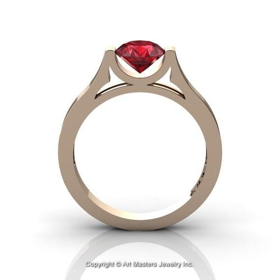 Moderne 14 K or Rose belle bague de mariage ou de la bague de ...