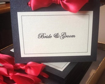 Place Cards with Shimmery Red Bow