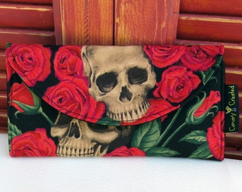 Skulls in a Bed of Red Roses Wallet