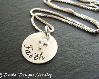 Sterling Silver faith necklace cross Christian jewelry