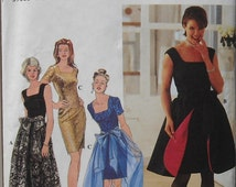 Simplicity 7128 Holiday Cocktail Evening Dress Bust 30.5-32.5 Scoop Neck Dress Back Slit Tie Front Overskirt  90s Style Pattern Uncut