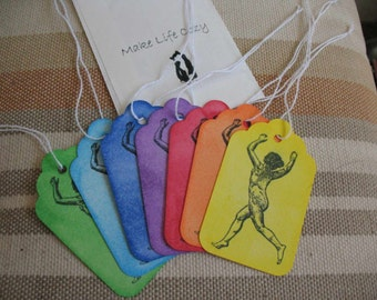 Rainbow Paper Tags with String Nude Woman Set of 7 Free Ship in US Handmade OOAK Arrive in Semi-transparent Paper Envelope