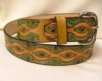 "Handmade, Hand Tooled Women's Leather Belt no. B 4040 - 1 1/2 "" Wide"