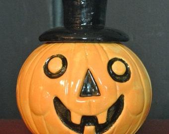 Halloween vintage style clay top hat Jack O Lantern jar