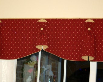 "Custom Order BUNNY NO EARS 2 Hidden Rod Pocket Valance to fit 56""- 70"" window, Constructed using customer's own fabrics, my labor and lining"