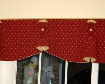 "Custom Order BUNNY NO EARS 2 Hidden Rod Pocket® Valance fits 56""- 70"" window, Constructed using customer's own fabrics, my labor and lining"