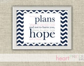 bible verse chevron nursery wall art - navy, pink - for i know the plans i have for you - digital file - 8.5x11
