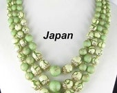 Japan 3 row multi Strand Necklace Green Sugar Finish Lucite vintage