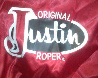 Vintage Justin Roper Boots Shiny Satin Snap up jacket New with tags Adult size small
