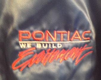 Vintage Pontiac We Build Excitement Shiny Blue Satin Jacket