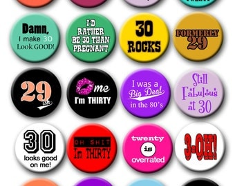 30th Birthday Nerdy Thirty  Party Favors  Pin Back Button Party Favors  1.25 inch Buttons
