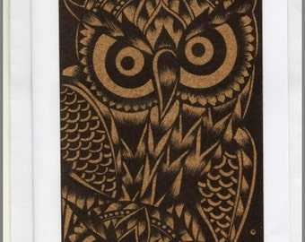 Thai traditional art Owls by printing on Sepia paper card
