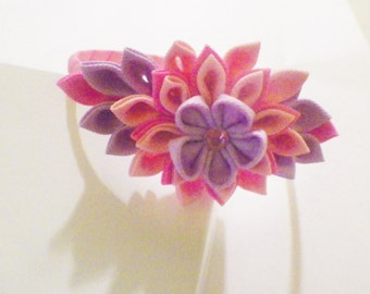 Pink,Lavender,Hot Pink Kanzashi Flower Headband