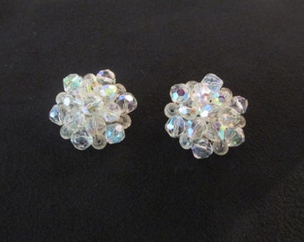 Vintage Aurora Boreales Round Clip Earrings