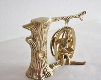 Vintage Brass Elephant Reading in Tree Swing So Cool
