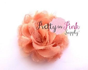 "Peach Small Shredded Lace Chiffon Flower 3.5"" choose quantity...Lace Flowers...Shabby Flower...Chervon Lace Flower Frayed Chiffon"