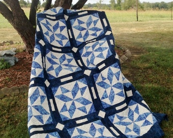 TRIPLE PLAY, pdf quilt pattern, 3 sizes