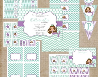 Mermaid Party Printables - Brown Hair