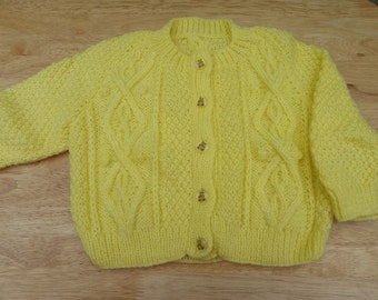 Hand knitted baby cardigan in yellow with cables and teddy buttons 6 - 12 months - knitted baby clothes - baby knitwear - knit - knitting