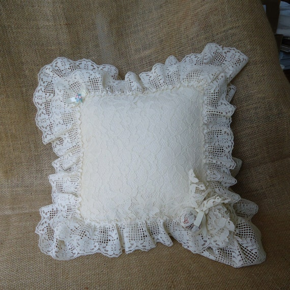 lace pillow shabby chic decor victorian decor by masonjardecor