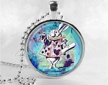 ALICE In WONDERLAND Necklace, White Rabbit, Art Glass Pendant Charm Jewelry, Rabbit Necklace,  Rabbit Jewelry