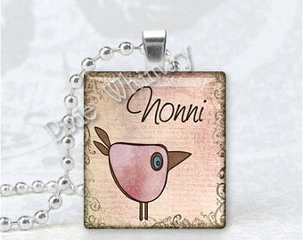 NONNI Pendant, Grandma, Grandmother, Granny, Italian Word, Scrabble Tile Art Pendant Charm Jewelry