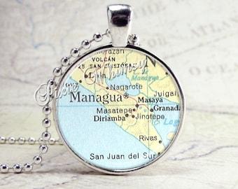 NICARAGUA Map Necklace, Managua Nicaragua Jewelry, Nicaragua Pendant, Nicaragua Jewelry, Glass Photo Art Pendant Charm, Central America
