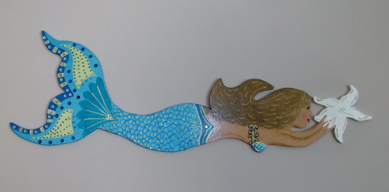 Beach decor home decor wooden mermaid mermaids