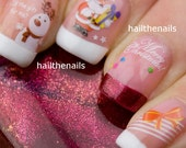 Christmas Nail Wraps Water Transfers Decal Nail Art Y191 Snowmen & Santa Salon Quality