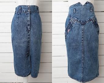 Long Denim Skirt / 80s Maxi Vintage High Waist Pencil Skirt / Size Medium M / High Waist Jeans Skirt / Bodycon Denim Skirt / Body Hugging